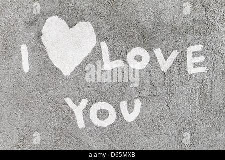 declaration of love written on the wall - Stock Photo