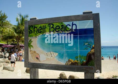 French West Indies, Caribbean island of Saint Barthelemy (aka St. Barts). Capital city of Gustavia, Shell Beach. - Stock Photo