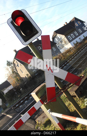 german level crossing - Stock Photo
