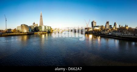 London Thames Panorama - Stock Photo