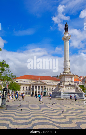 Lisbon, Dom Pedro IV Square, Praça Dom Pedro IV, Teatro Nacional de Dona Maria II, Baixa District, Portugal - Stock Photo