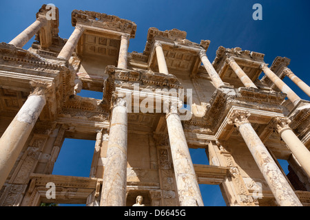 Facade of the Celsus Library in the ancient ruined city of Ephesus near Selçuk, Turkey - Stock Photo
