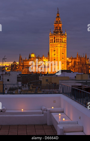 La Giralda and Sevilla Cathedral, City of Sevilla (Seville), Province of Sevilla, Andalusia (Andalucia), Spain, - Stock Photo