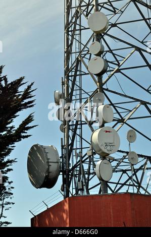 Communication antennas on Twin Peaks, San Francisco, California, USA - Stock Photo