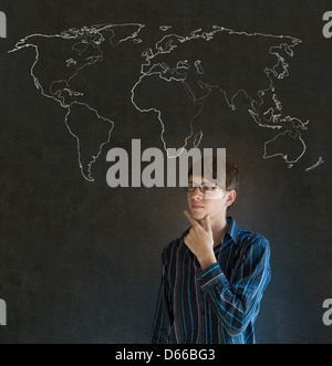 Business man student or teacher with chalk globe and jet world confident handsome business man teacher or student with chalk geography world map on blackboard background gumiabroncs Image collections