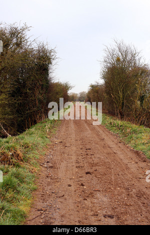 Wet and muddy country lane near Cheddar in Somerset, April 2013 - Stock Photo