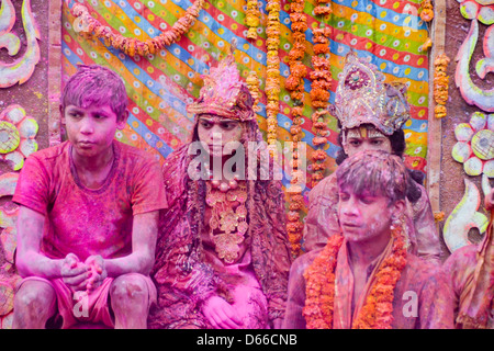People of mathura enjoying holi - Stock Photo