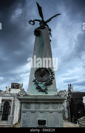A memorial statue in Recoleta Cemetery - Stock Photo