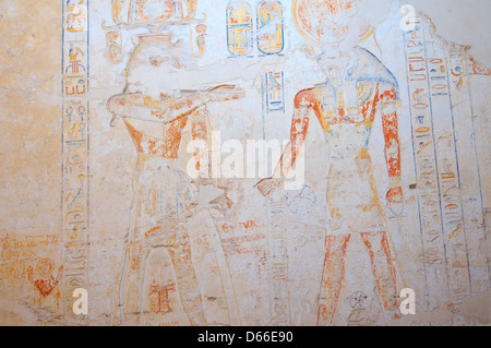 The Interior of Ramesses IV's KV2 royal tomb, East Valley of the Kings, Luxor (Thebes), Egypt, Africa  - Stock Photo
