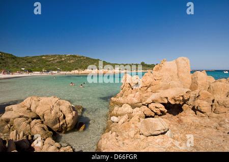 The Principe beach with tourists and granite rocks near Porto Cervo, Arzachena, Costa Smeralda, Emerald coast,Sardinia, - Stock Photo