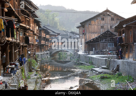 Zhaoxing village and river  in the Guizhou province of China - Stock Photo