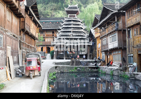 Drum tower in the Zhaoxing village in the Guizhou province of Chin - Stock Photo