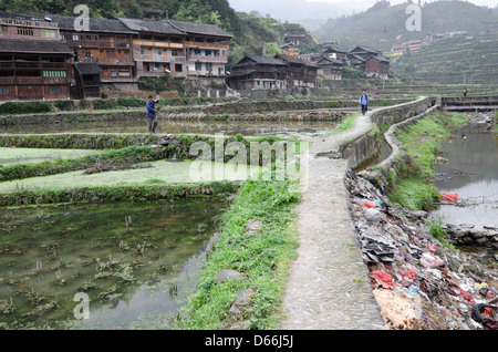 Pollution in Zhaoxing village, Guizhou province of China - Stock Photo