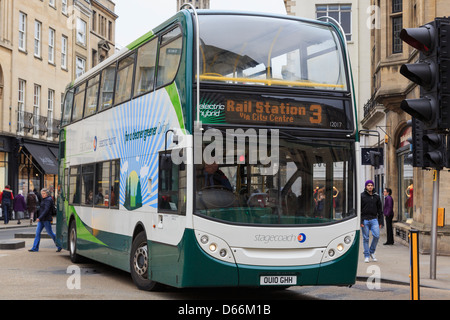 Electric hybrid double decker bus operated by Stagecoach in Oxford city centre, Oxfordshire, England, UK, Britain - Stock Photo