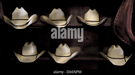 cowboy hats in a western store - Stock Photo