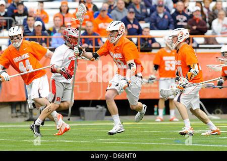 April 13, 2013 - Syracuse, New York, USA - April 13, 2013: Syracuse Orange defenseman David Hamlin #31 runs with - Stock Photo