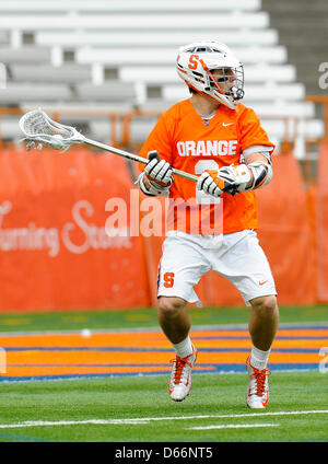 April 13, 2013 - Syracuse, New York, USA - April 13, 2013: Syracuse Orange attackman Kevin Rice #2 scans the field - Stock Photo