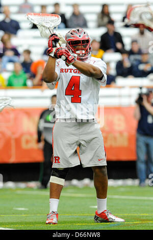 April 13, 2013 - Syracuse, New York, USA - April 13, 2013: Rutgers Scarlet Knights goalie Kris Alleyne #4 looks - Stock Photo