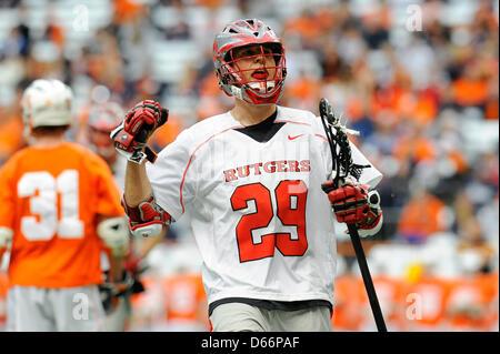April 13, 2013 - Syracuse, New York, USA - April 13, 2013: Rutgers Scarlet Knights attackman Scott Klimchak #29 - Stock Photo