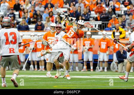 April 13, 2013 - Syracuse, New York, USA - April 13, 2013: Syracuse Orange midfielder Luke Cometti #53 prepares - Stock Photo