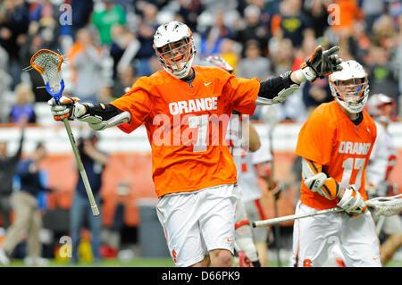 April 13, 2013 - Syracuse, New York, USA - April 13, 2013: Syracuse Orange attackman Derek Maltz #7 celebrates his - Stock Photo