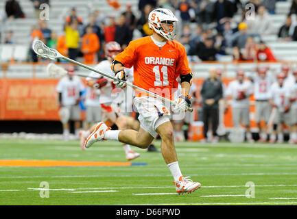 April 13, 2013 - Syracuse, New York, USA - April 13, 2013: Syracuse Orange defenseman Brian Megill #11 runs with - Stock Photo