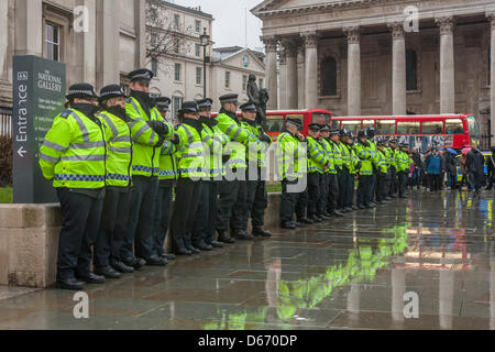 London, UK. 13 April 2013. Thousands of people gathered in central London to celebrate the death of the former UK - Stock Photo