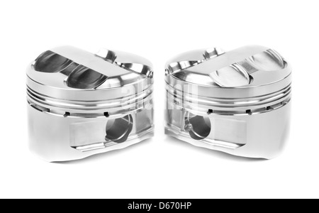 set of two polished forged pistons. Isolate on white. - Stock Photo
