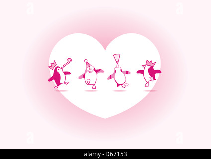Four Happy Pink Penguins Dancing at a Party with White Heart and Soft Pink Background - Stock Photo