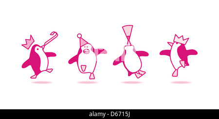 Vector Illustration of Four Happy Pink Penguins Dancing at a Party - Stock Photo