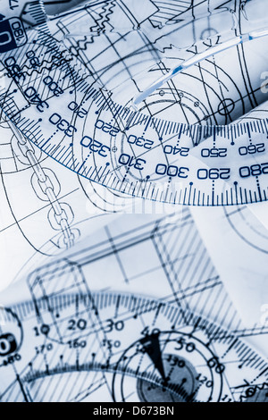 Technical drawing with a ruler in a blue toning - Stock Photo
