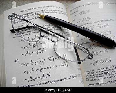 Mathematical equations and calculations for engineering studies and practice. - Stock Photo