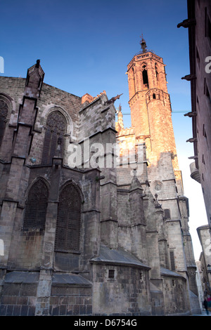 Street near the Cathedral of Barcelona, Barcelona, Spain - Stock Photo