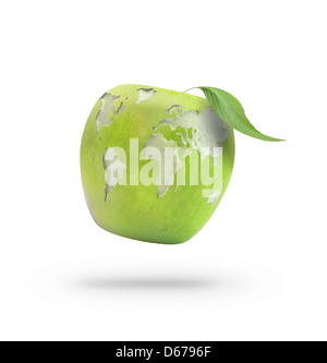 Peeled apple forming the world map
