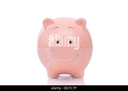 Smiling Piggy bank isolated on white background - Stock Photo