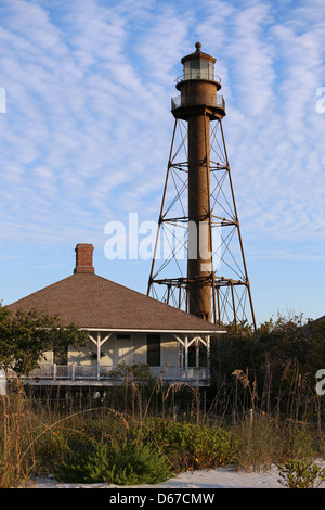 The Sanibel Island Light or Point Ybel Light is the first lighthouse on Florida's Gulf coast north of Key West - Stock Photo