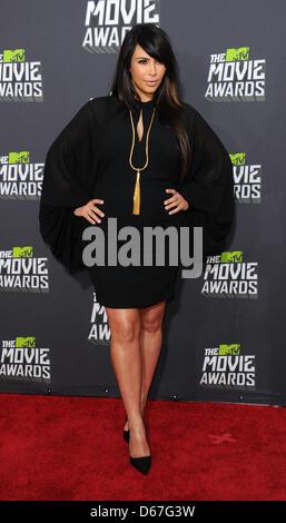 Los Angeles, CA, USA. April 14th 2013. Kim Kardashian at the MTV Movie Awards in Los Angeles. Credit: Sydney Alford/Alamy - Stock Photo