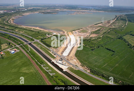 Aerial view of the construction site for the flood reservoir between the White Elster and Lake Zwenkau south of - Stock Photo