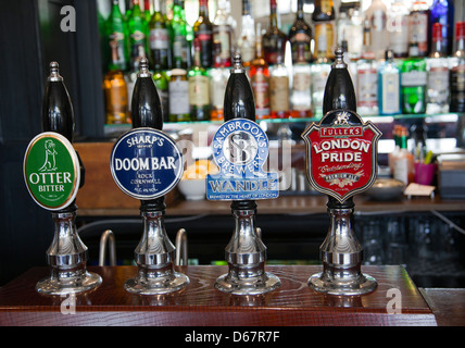 Draught Beer Fonts inside Pub - London - UK - Stock Photo