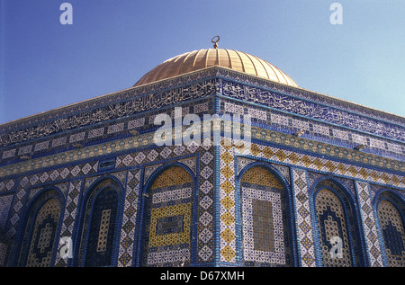 Decorated tilework of the gilded Islamic shrine Dome of the Rock Mosque also called Haram al Sharif in the Temple - Stock Photo
