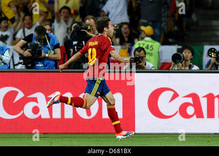 Spain's Jordi Alba celebrates his 2-0 goal during the UEFA EURO 2012 final soccer match Spain vs. Italy at the Olympic - Stock Photo