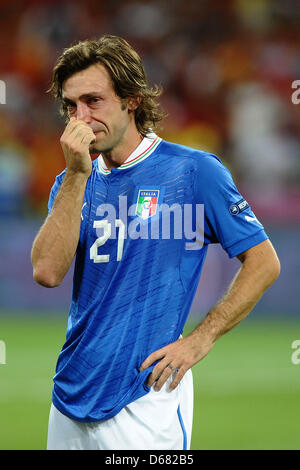 Italy's  Andrea Pirlo after the UEFA EURO 2012 final soccer match Spain vs. Italy at the Olympic Stadium in Kiev, - Stock Photo