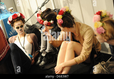 Models waiting backstage for the Lena Hoschek show during the Mercedes-Benz Fashion Week in Berlin, Germany, 04 - Stock Photo