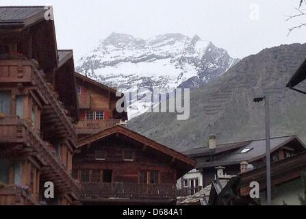 The peak of Lagginhorn is pictured in the Pennine Alps in Saas-Fee,Switzerland, 04 July 2012. Five German mountain - Stock Photo