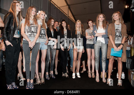 Models waiting backstage for the start of the Schumacher show during the Mercedes-Benz Fashion Week in Berlin, Germany, - Stock Photo