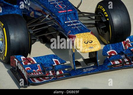 Red Bull's specially designed RB8 at the Silverstone race track in Northamptonshire, Great Britain, 05 July 2012. - Stock Photo