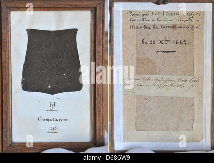 A piece of the robe of Czech priest, philosopher and reformer Jan Hus's robe is on display in the  Badisches Landesmuseum - Stock Photo