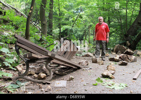 Memeber of the mountain rescue service Wolfgang Knochenhauer checks a hiking trial of the Harzer Hexenstieg ('Harz - Stock Photo