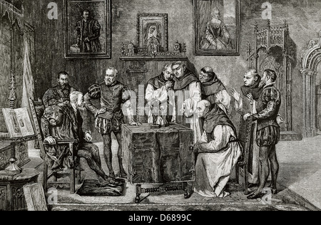 Charles I (1500-1558). King of Spain and Emperor of Germany. Charles V at Yuste. Engraving by C. Penoso. - Stock Photo