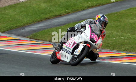 Spanish Luis Salom of Team RW Racing GP races in the German MotoGP at Sachsenring in Hohenstein-Ernstthal, Germany, - Stock Photo